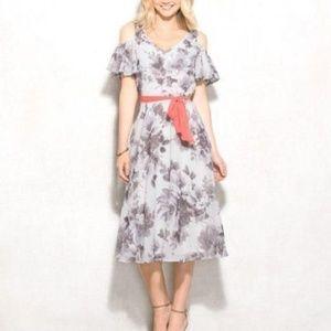 Dressbarn Belted Cold Shoulder Floral Dress 10